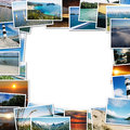 Frame of travel photos on white background with the scent faraway places Royalty Free Stock Photos