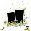 Frame for two photos with artificial decorations Royalty Free Stock Photography