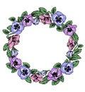 Frame of vintage botanical flowers. Violet, pansy wreath.