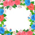 Frame of vintage floral gouache bouquet of rose. Flowers decoration pattern
