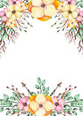 Frame With Watercolor Yellow Flowers, Branches And Arrows