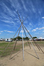 Frame of wigwam installed at the nyc pow wow in brooklyn new york june on june a is a gathering and heritage celebration Royalty Free Stock Photos