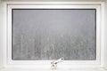 Frame window glass opaque with white aluminium. Royalty Free Stock Photo