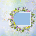 Frame with a wreath of flowers on a beautiful background Royalty Free Stock Photo