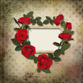 Frame with a wreath of roses on vintage background and Royalty Free Stock Photography