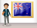 The framed flag of new zealand with a man illustration on white background Stock Images