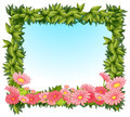 A framed leaves with pink flowers illustration of on white backround Royalty Free Stock Image