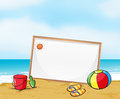 A framed signboard at the beach illustration of Royalty Free Stock Photo
