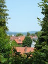 A framed view on a roof landscape with far hills Royalty Free Stock Photo
