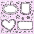 Frames Borders Sketchy Doodles Vector Set Stock Photography
