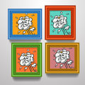 Frames with comic book explosion on pictures vector eps Stock Photo