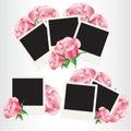Frames da foto do Polaroid com rosas cor-de-rosa Fotografia de Stock Royalty Free