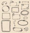 Frames and design elements collection hand drawn on recycled paper texture Royalty Free Stock Photos