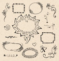 Frames and design elements collection hand drawn on recycled paper texture Stock Photo