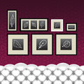 Frames, drawings, vintage couch Stock Photography