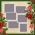 Christmas background with frames for family photos and borders of stars, christmas bells, sweets, pine branches, poinsettia, ber