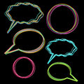 Frames set multicolored speech bubbles and round Stock Image