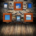 Frames with sky view on wall abstract interior backdrop wooden like windows you can see the through them Royalty Free Stock Images