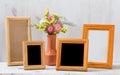 Frames on white table Royalty Free Stock Photo