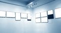 Frames on white wall in art museum Royalty Free Stock Images
