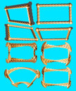 Framework eight gold frames on an isolated blue Royalty Free Stock Images