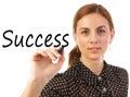 Framgång för affärskvinnahandstil Arkivbild