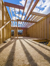 Framing construction of a new house in the suburbs Royalty Free Stock Photos