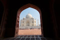 Framing of Taj Mahal Mausoleum with clear blue sky, Agra, India. Royalty Free Stock Photo