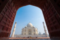 Framing of Taj Mahal Mausoleum with clear blue sky, Agra, India Royalty Free Stock Photo