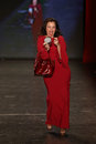 Fran drescher new york feb wears le petite robe di chiarra at go red for women red dress collection presented by macy s at new Royalty Free Stock Photos