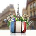 France and attractions of paris retro suitcase travel Stock Photography