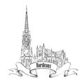 France city icon bordeaux landmark isolated st michel cathedral travel french symbol hand drawn sketch Stock Images