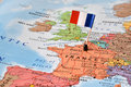 France flag on map, concept image - world hot spot Royalty Free Stock Photo