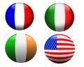 France, EUA, Ireland, Italy, bandeiras Fotos de Stock Royalty Free