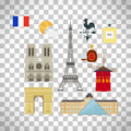 France flag and Paris landmarks icons
