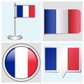 France flag set of sticker button label and fl various flagstaff Royalty Free Stock Photo