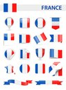 France Flag Vector Set Royalty Free Stock Photo