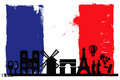 France flag and silhouettes Royalty Free Stock Photo
