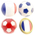 France football team attributes isolated set of four soccer ball on white Stock Images