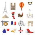 France Icons Set Royalty Free Stock Photo