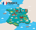 France landmark and travel map. Royalty Free Stock Photo