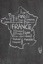 France map and words cloud Royalty Free Stock Photo