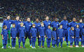 France national football team players kyiv ukraine november and unidentified young footballers listen the anthems before Royalty Free Stock Image