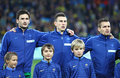 France national football team players kyiv ukraine november and unidentified young footballers listen the anthems before Royalty Free Stock Photos