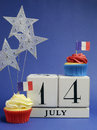 France national holiday calendar july fourteenth of july bastille day vertical with flags cakes and stars decorations Royalty Free Stock Image