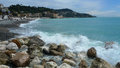 France in nice after the storm descending on the sea waves a sparkling white rocks Stock Photography