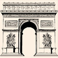France paris arc de triomphe very detailed vector representation of an hand drawing Stock Photography