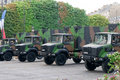 FRANCE, PARIS - JULY 14: The trucks at a military Royalty Free Stock Image