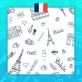 France and Paris travel banner. With flat and doodle elements. Doodles background. Vector illustration. Royalty Free Stock Photo