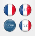 France Presidential Election Voting. Badges Set. A set of french buttons and caps.Vector Illustration. Royalty Free Stock Photo